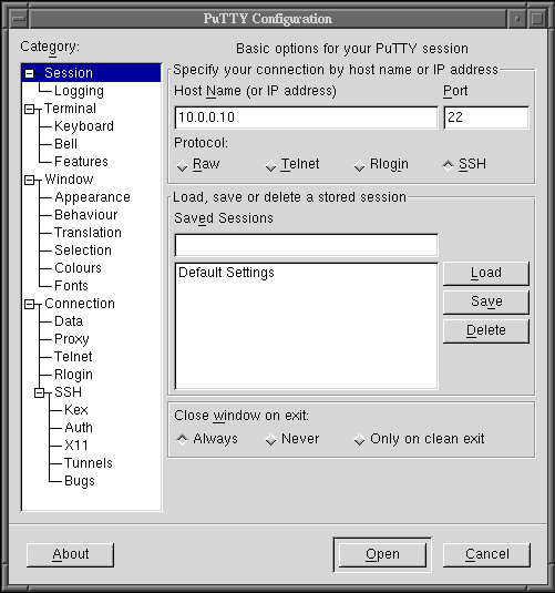 config putty